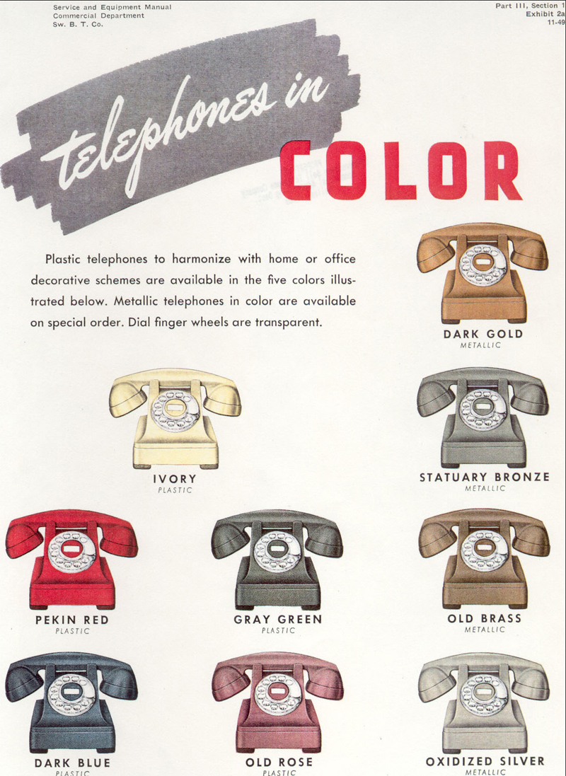 Western Electric 302 Rotary Dial Antique Telephone Wiring Diagram Model Color Selection Brochure